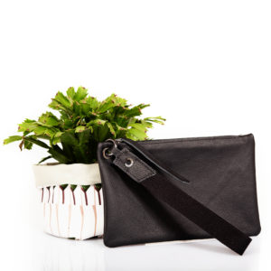 Black leather clutch – Cinzia Rossi