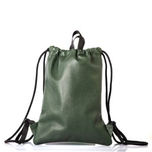 Caper green leather backpack - cinzia rossi