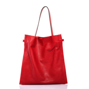 Cherry red leather shopping bag - Cinzia Rossi